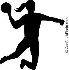 lanzamiento, balonmano, pelota, mujer