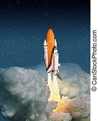 """lanzamiento, cohete, imagen, amueblado, exterior, estrellado, nublado, """"the, elementos, esto, space., nasa"""""""