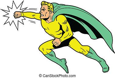 lanzamiento, superhero, puñetazo, clásico
