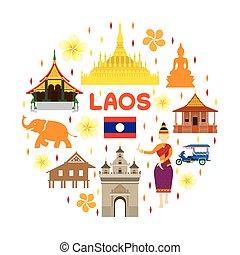 Laos etiqueta de atracción de viaje