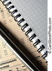 Lapiceras de acero y la espiral de un cuaderno sobre el periódico.