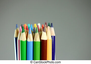 Lapices de colores escolares con extrema profundidad de campo