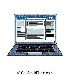 Laptop con garabatos de la red social
