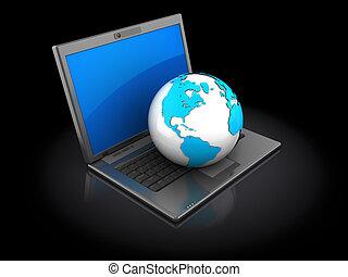 Laptop con la tierra
