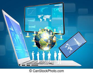 Laptop, teléfono móvil, dispositivo de contacto (Elementos de esta imagen amueblada por la NASA)