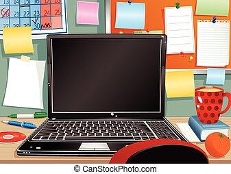 Laptop y desordenada estación de trabajo