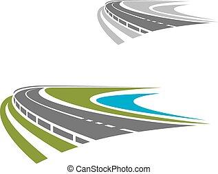 Larga carretera o icono de carretera