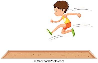 largo, hombre, salto, atleta