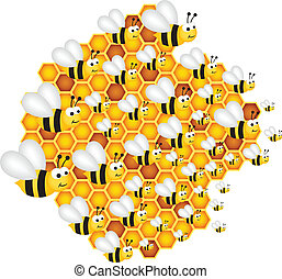 Las abejas llenan las células colmena