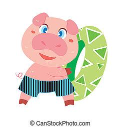 Las actividades de un cerdo en la playa