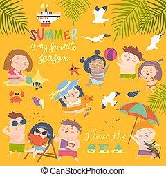 Las actividades de verano al aire libre. Fiesta en la playa