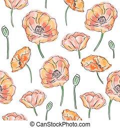 Las amapolas florecen sin costura