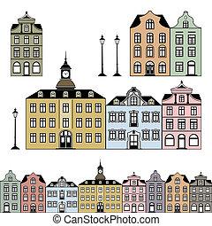 Las antiguas casas del pueblo ilustran el vector