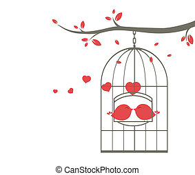 Las aves de amor en la jaula