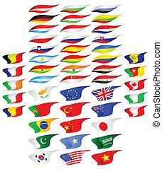 Las banderas de los diferentes países.