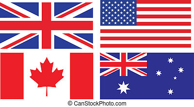 Las banderas de los países que hablan inglés
