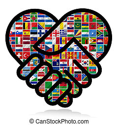 Las banderas mundiales con la cooperación