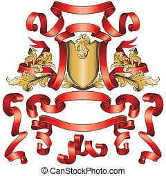 Las banderas rojas se recogen con escudo dorado