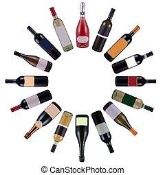 Las botellas de vino giran
