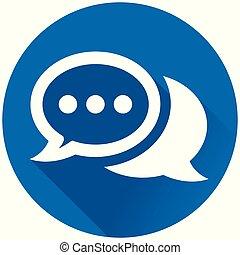 Las burbujas de habla rodean el icono azul