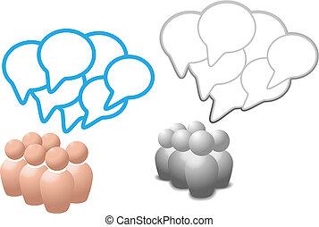 Las burbujas de habla simbolizan las redes sociales