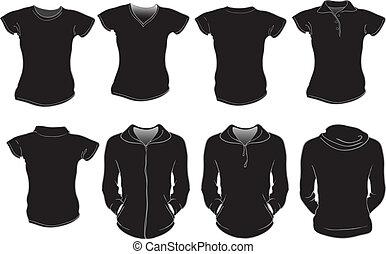 Las camisas femeninas se templan en negro