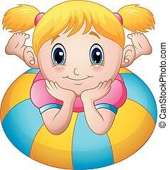 Las caricaturas de las niñas se tumban sobre un anillo inflable