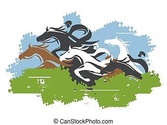 Las carreras de caballos saltan sobre el obstáculo.