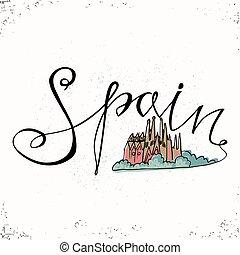Las cartas de España y la santa familia en Barcelona. Ilustración de vectores. Las cartas dibujadas a mano. Lettering y diseño tipográfico. Elementos de diseño de vectores