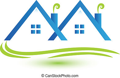 Las casas de bienes raíces, logo vector