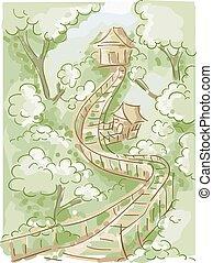 Las casas de fideos en el puente