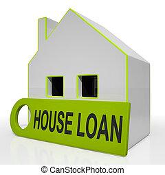 Las casas de préstamos muestran préstamos y hipoteca
