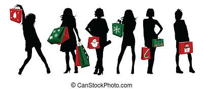 Las chicas de Navidad haciendo compras