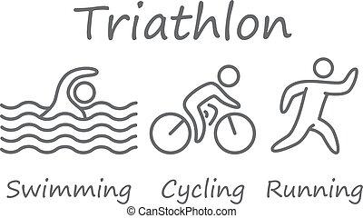Las cifras de atletas triatlón. Natación, ciclismo y símbolos de funcionamiento.