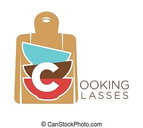 Las clases de cocina promueven el emblema con tablas de cortar y tazones