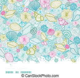 Las conchas de mar se alinean con el arte horizontal