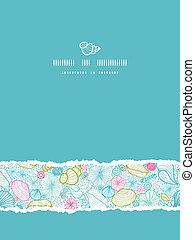 Las conchas de mar se alinean con el arte vertical rasgadas con un patrón sin sentido