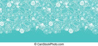 Las conchas marinas azules forman el arte horizontalmente en la frontera
