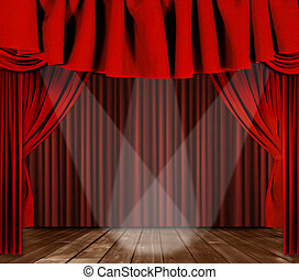 Las cortinas de escena con tres focos centrados en el escenario central