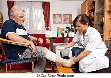 Las enfermeras cuidan las heridas