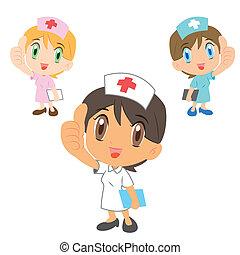 Las enfermeras de cartón levantan el pulgar