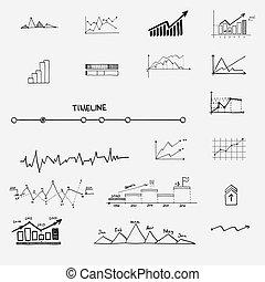 Las estadísticas de finanzas financieras informativas de dibujos a mano. Concepto, gráfico, gráfico, señales de flechas, búsqueda de ganancias de dinero