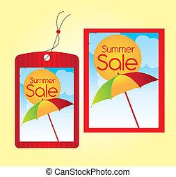 Las etiquetas de venta de verano