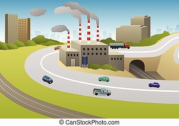 Las fábricas plantan coches ilustraciones de carretera