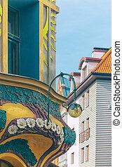Las fachadas históricas de las casas en Old Riga