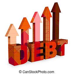 Las flechas de deuda significan obligación financiera y bancarrota en 3D