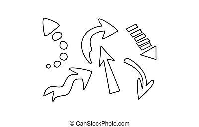 Las flechas dibujadas a mano fijan la ilustración vectorial en un fondo blanco