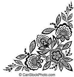 Las flores de encaje adornado de esquina están decoradas en blanco y negro