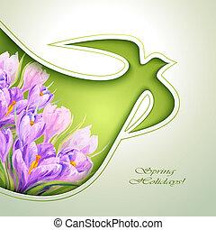 Las flores de primavera invitan a plantilla
