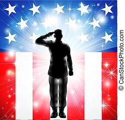 Las fuerzas armadas de EE.UU. saludan a los soldados silueta